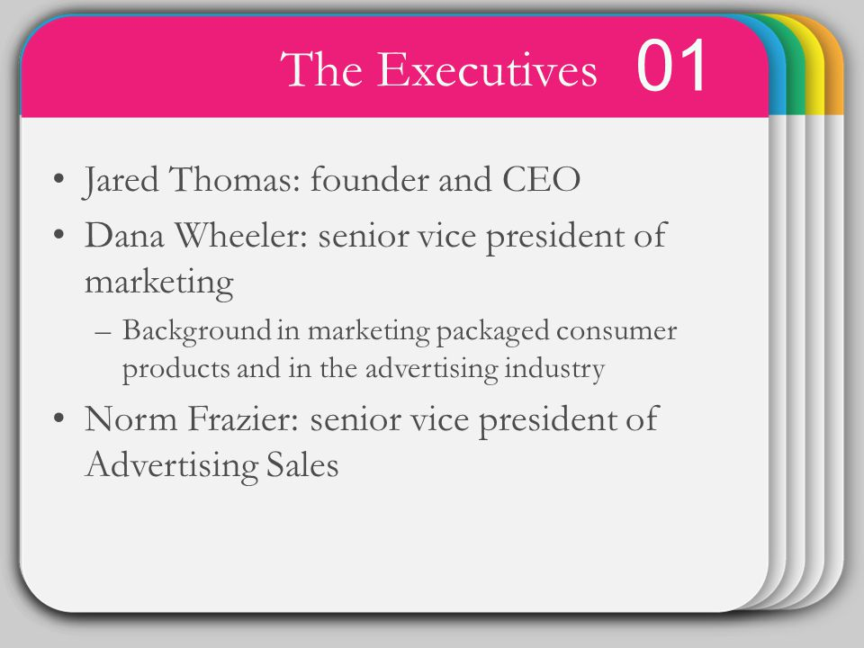 WINTER 01 The Executives Template Jared Thomas: founder and CEO