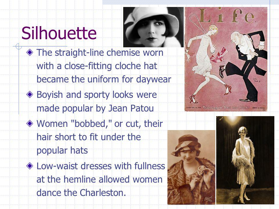 Silhouette The straight-line chemise worn with a close-fitting cloche hat became the uniform for daywear.
