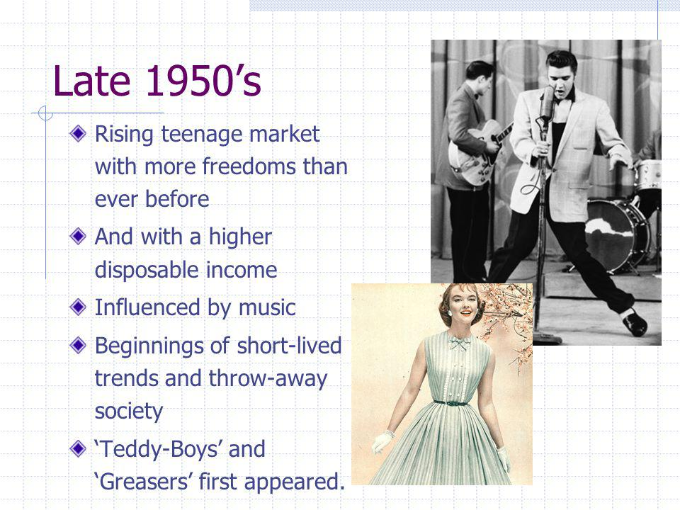Late 1950's Rising teenage market with more freedoms than ever before