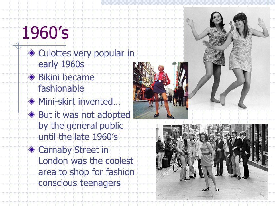 1960's Culottes very popular in early 1960s Bikini became fashionable