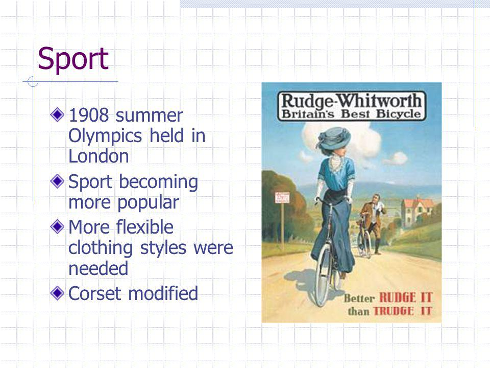Sport 1908 summer Olympics held in London Sport becoming more popular