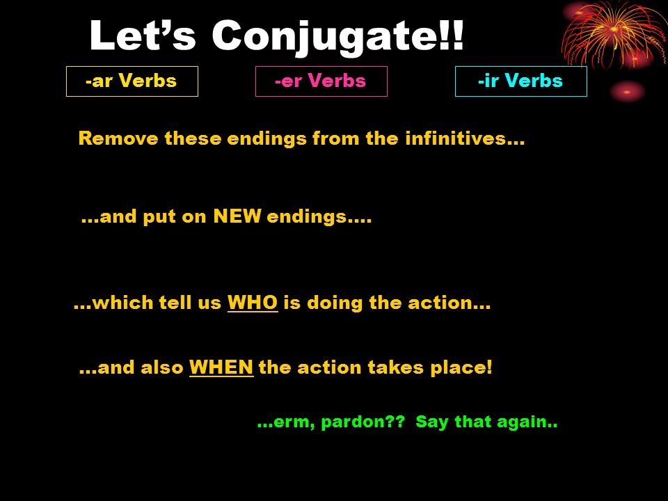 Let's Conjugate!! -ar Verbs -er Verbs -ir Verbs