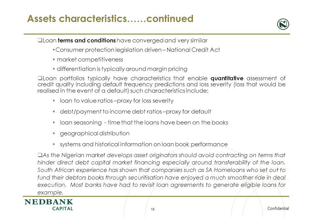 Assets characteristics……continued