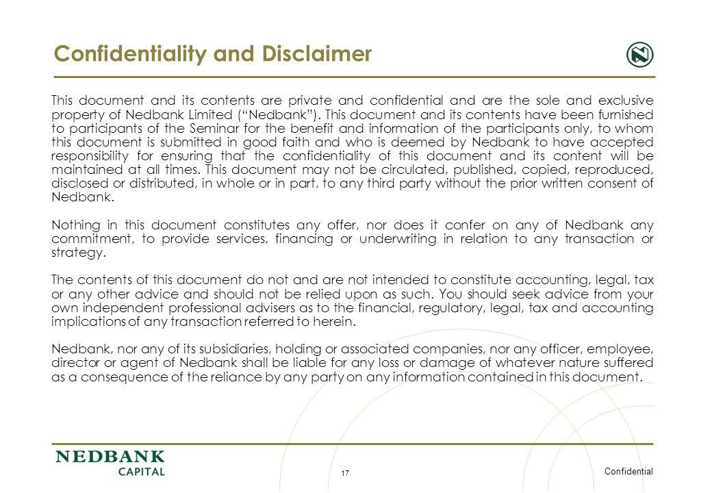 Confidentiality and Disclaimer