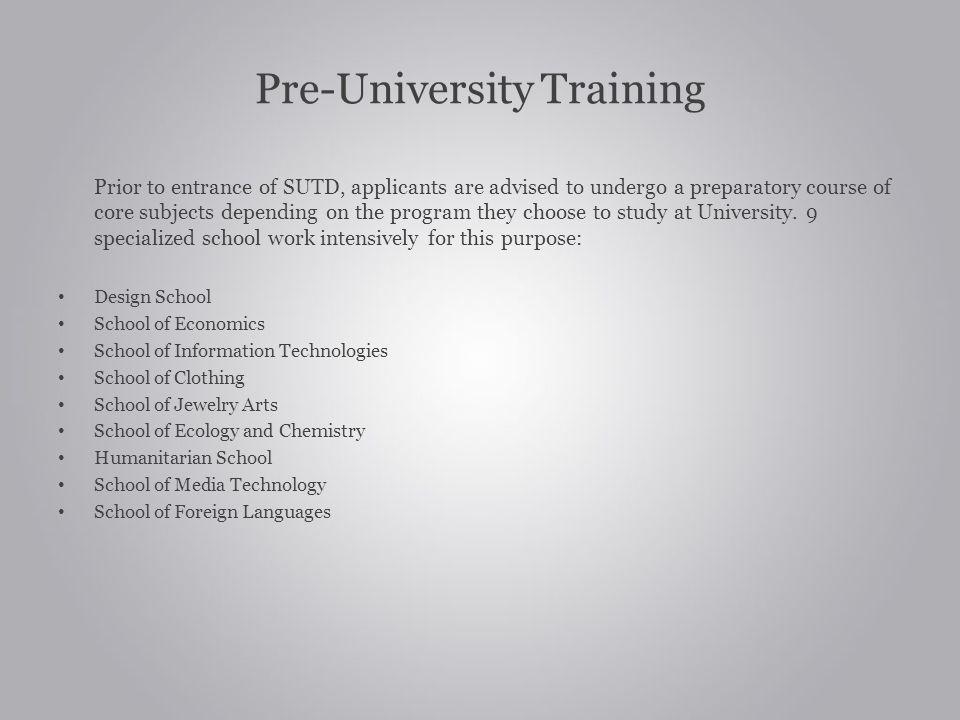 Pre-University Training