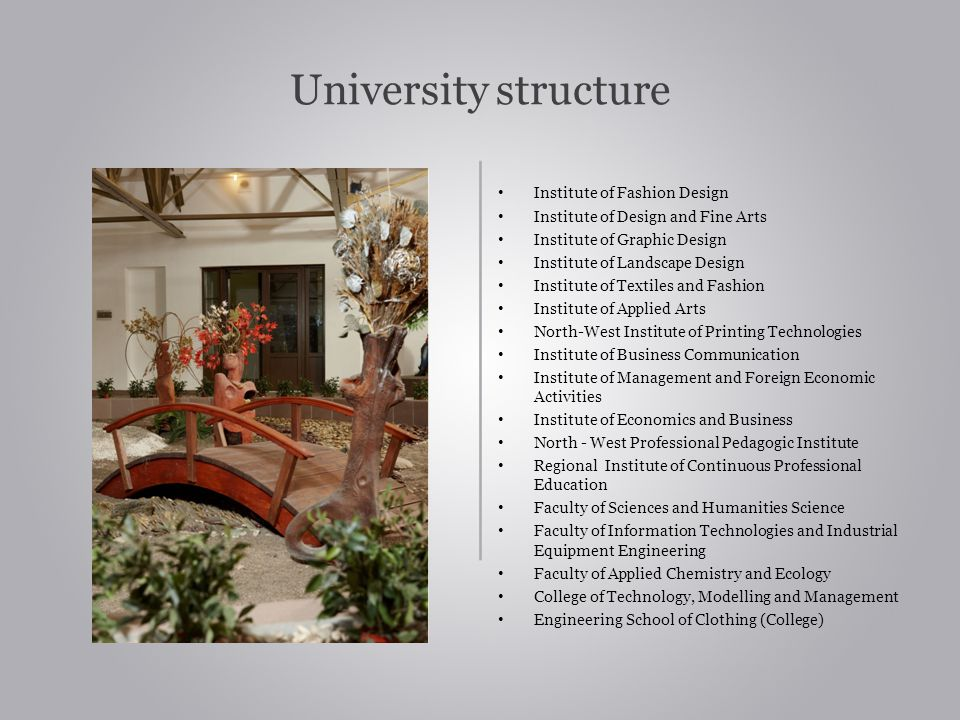 University structure Institute of Fashion Design