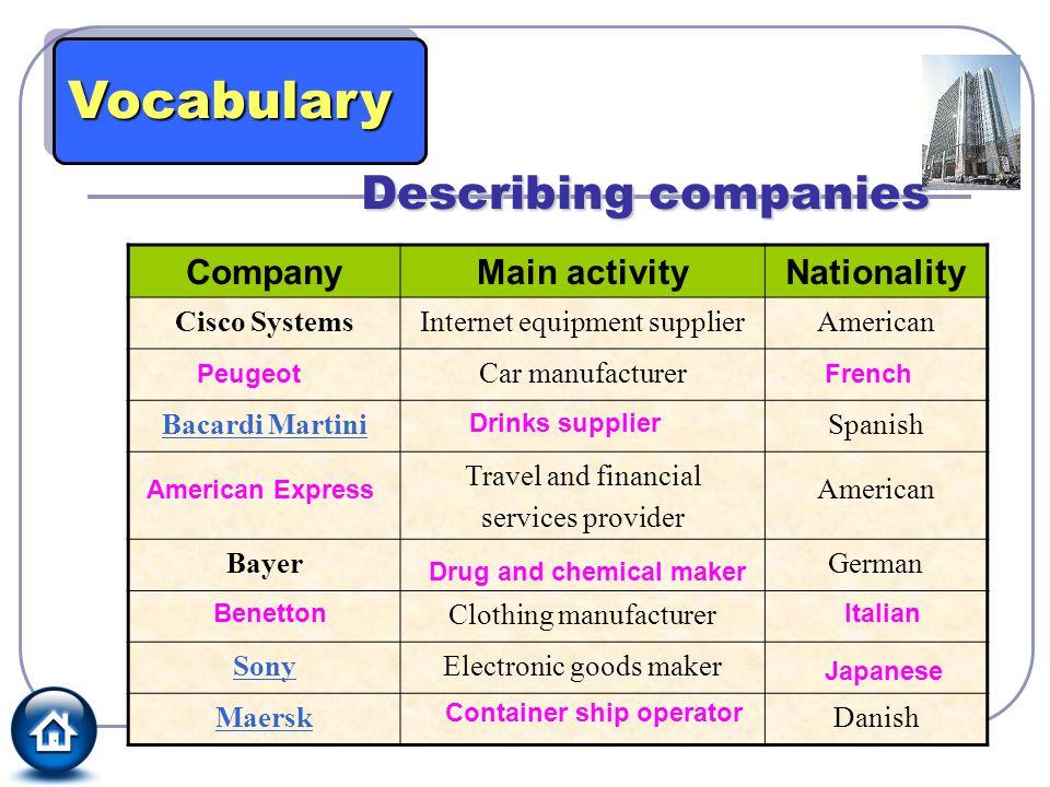 Vocabulary Describing companies Company Main activity Nationality