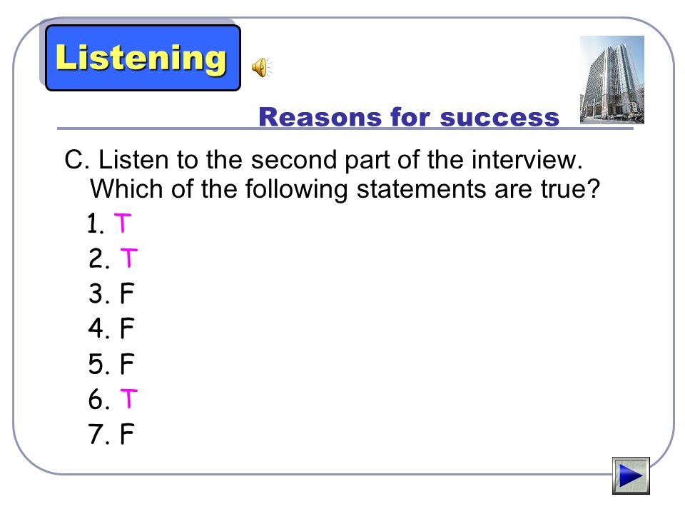 Listening Reasons for success
