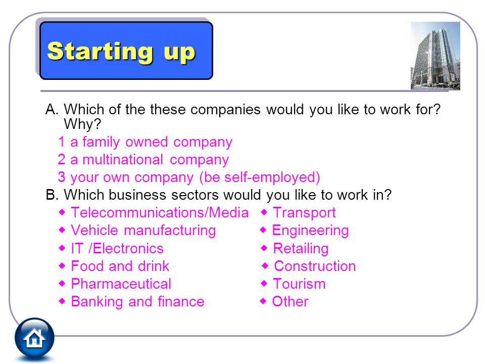 Starting up A. Which of the these companies would you like to work for Why 1 a family owned company.