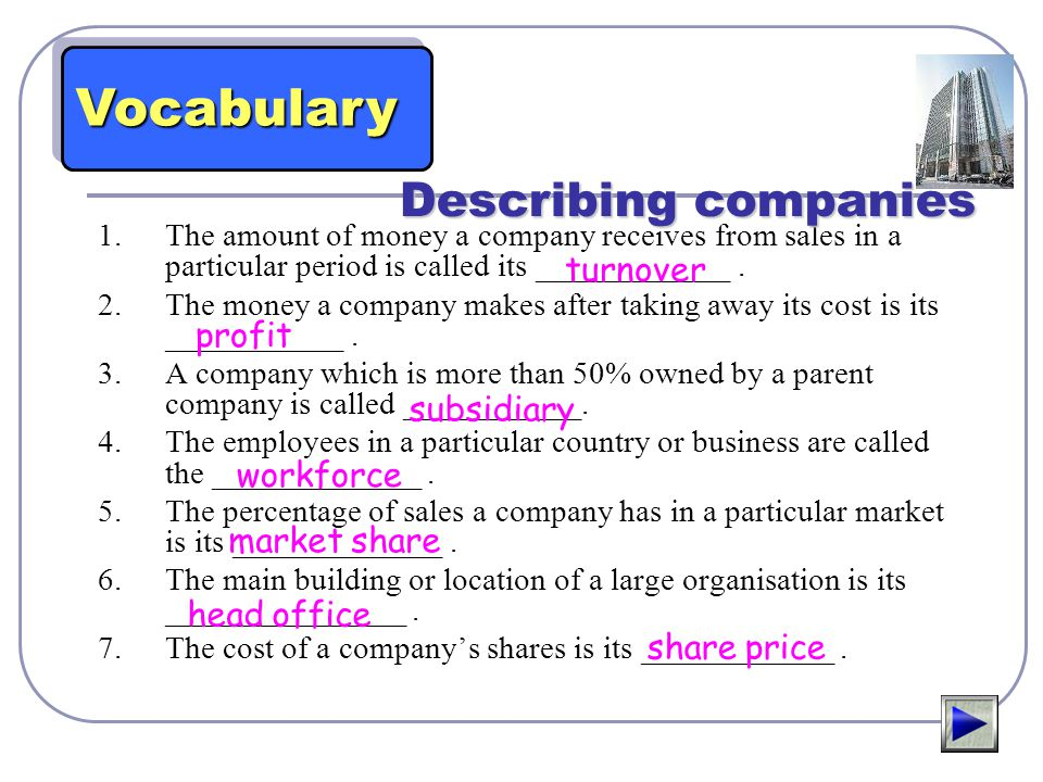 Vocabulary Describing companies turnover profit subsidiary workforce
