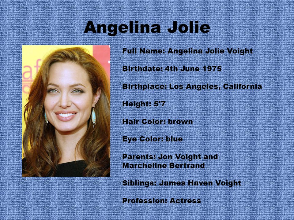 Angelina Jolie Full Name: Angelina Jolie Voight