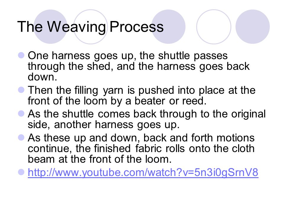 The Weaving Process One harness goes up, the shuttle passes through the shed, and the harness goes back down.