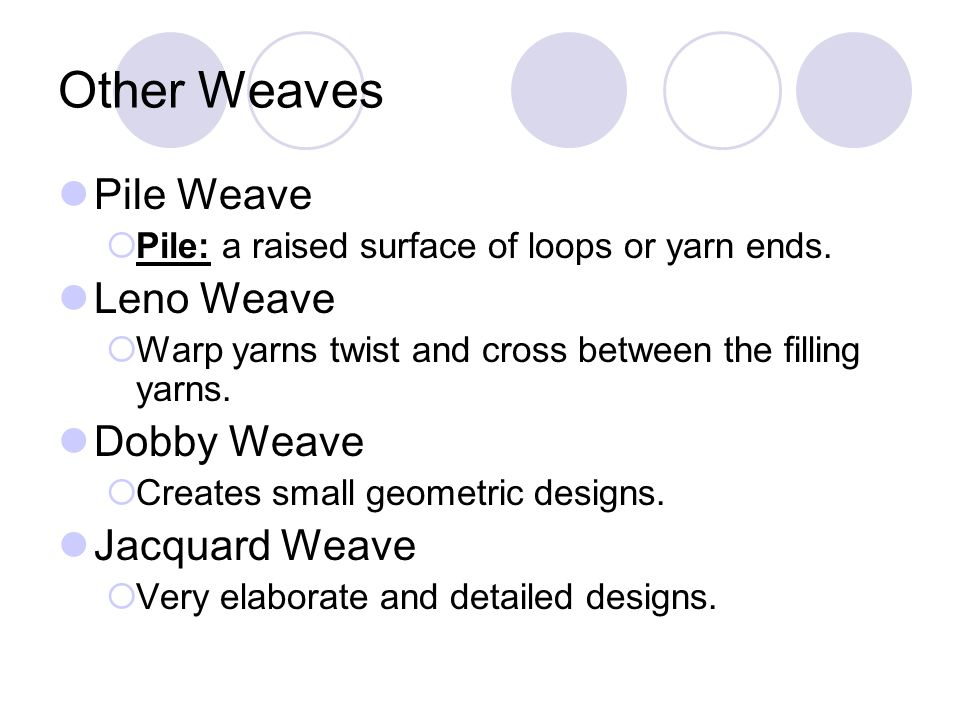 Other Weaves Pile Weave Leno Weave Dobby Weave Jacquard Weave
