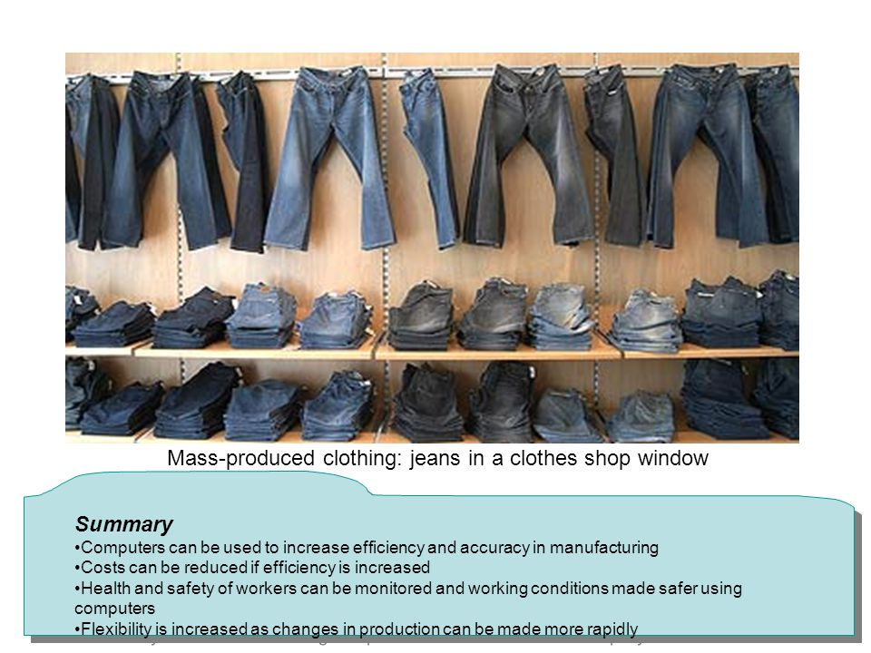Mass-produced clothing: jeans in a clothes shop window
