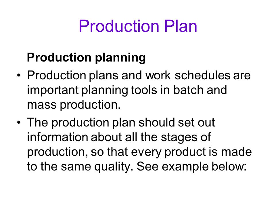Production Plan Production planning