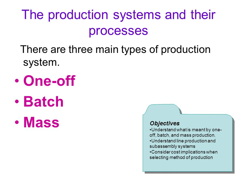 The production systems and their processes