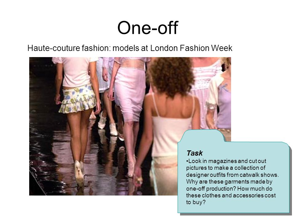 One-off Haute-couture fashion: models at London Fashion Week Task