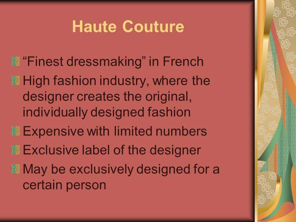 Haute Couture Finest dressmaking in French