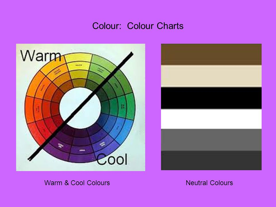 Colour: Colour Charts Warm & Cool Colours Neutral Colours