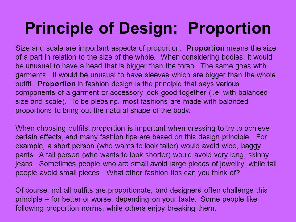 Principle of Design: Proportion
