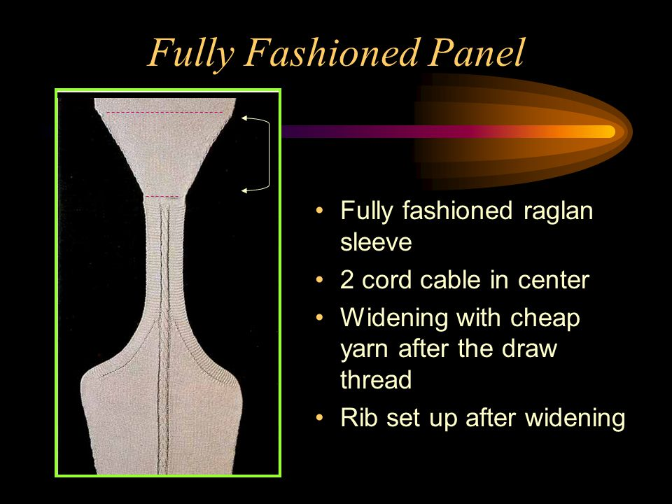 Fully Fashioned Panel Fully fashioned raglan sleeve