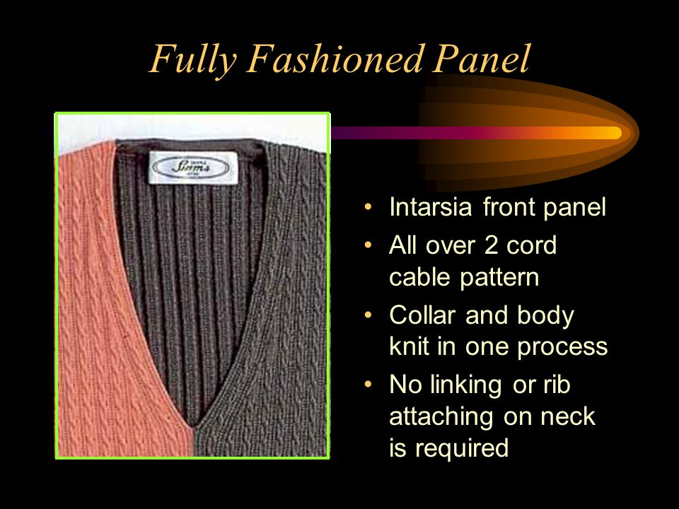 Fully Fashioned Panel Intarsia front panel