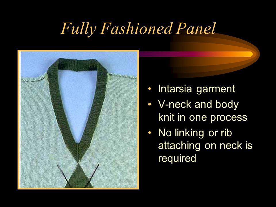 Fully Fashioned Panel Intarsia garment