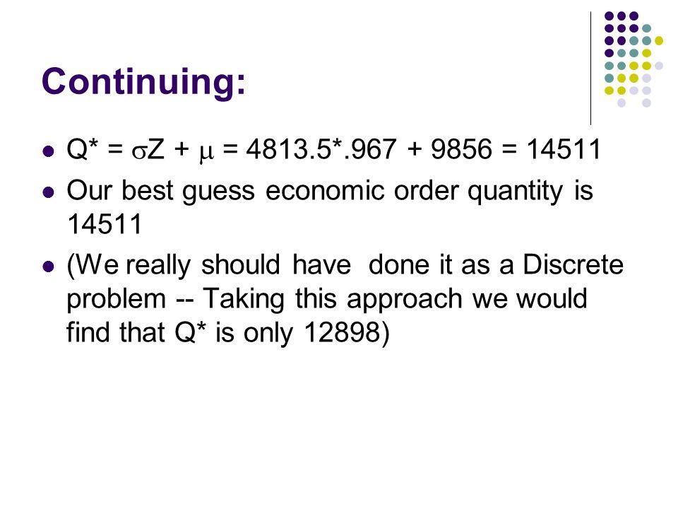 Continuing: Q* = Z +  = 4813.5*.967 + 9856 = 14511