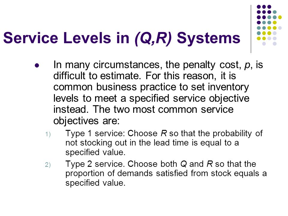 Service Levels in (Q,R) Systems