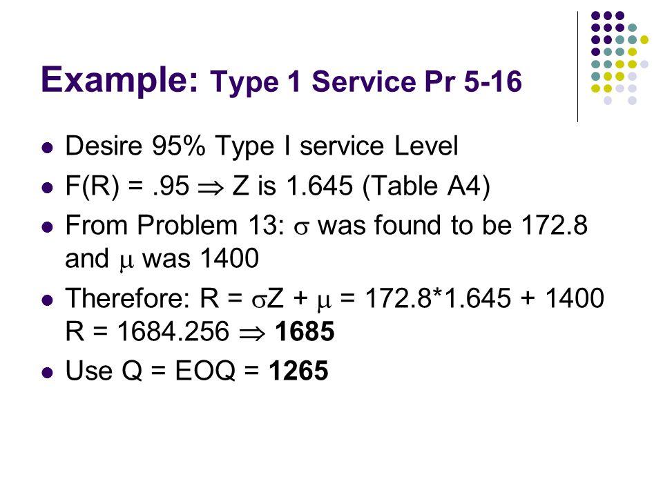 Example: Type 1 Service Pr 5-16