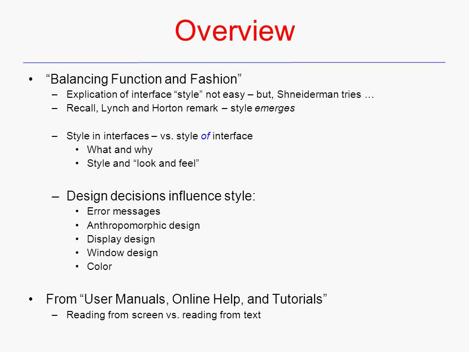 Overview Balancing Function and Fashion