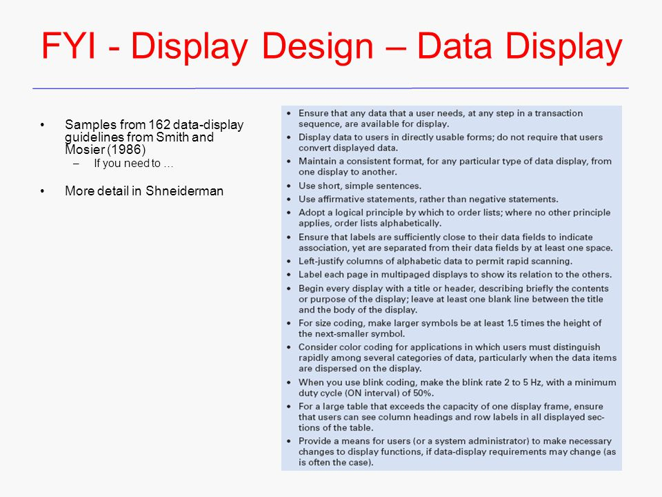 FYI - Display Design – Data Display