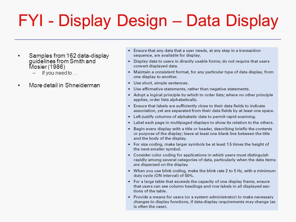 FYI - Display Design – Data Display