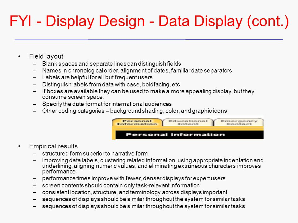 FYI - Display Design - Data Display (cont.)