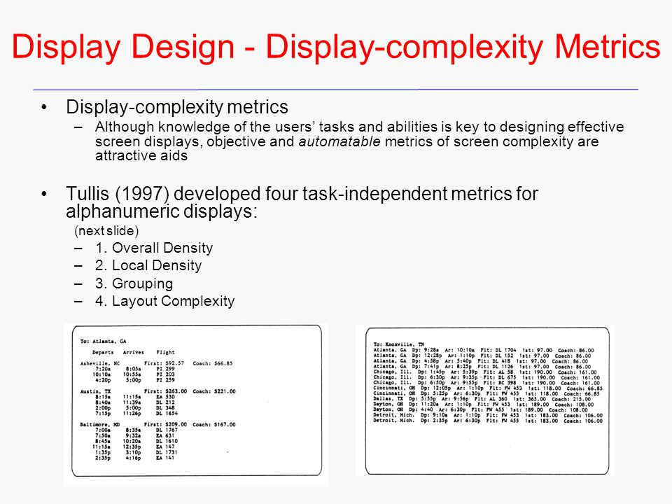 Display Design - Display-complexity Metrics