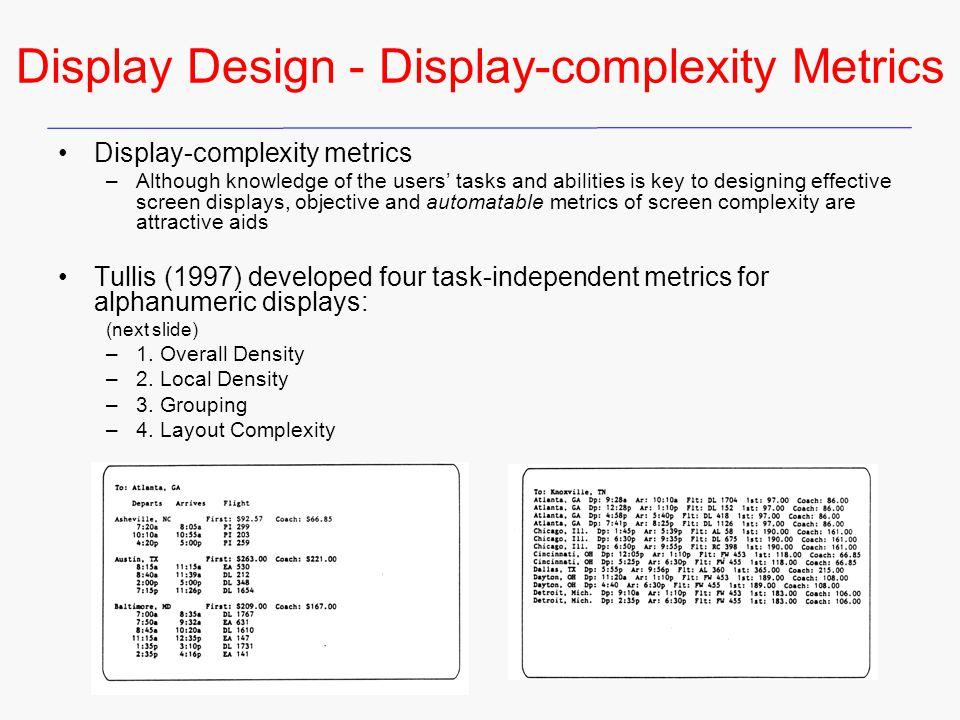 Display Design - Display-complexity Metrics