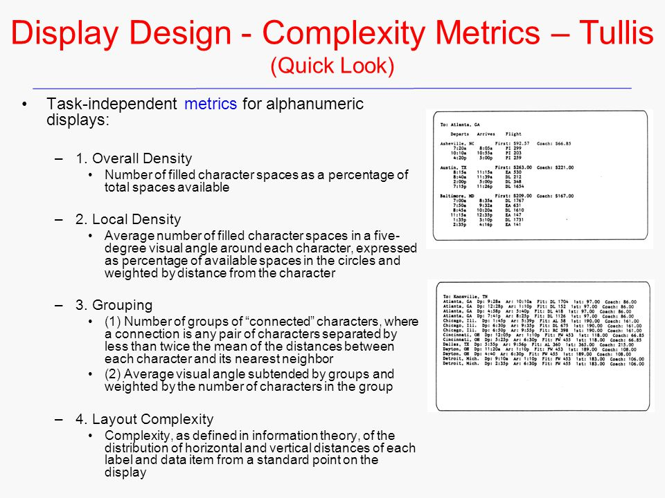 Display Design - Complexity Metrics – Tullis (Quick Look)