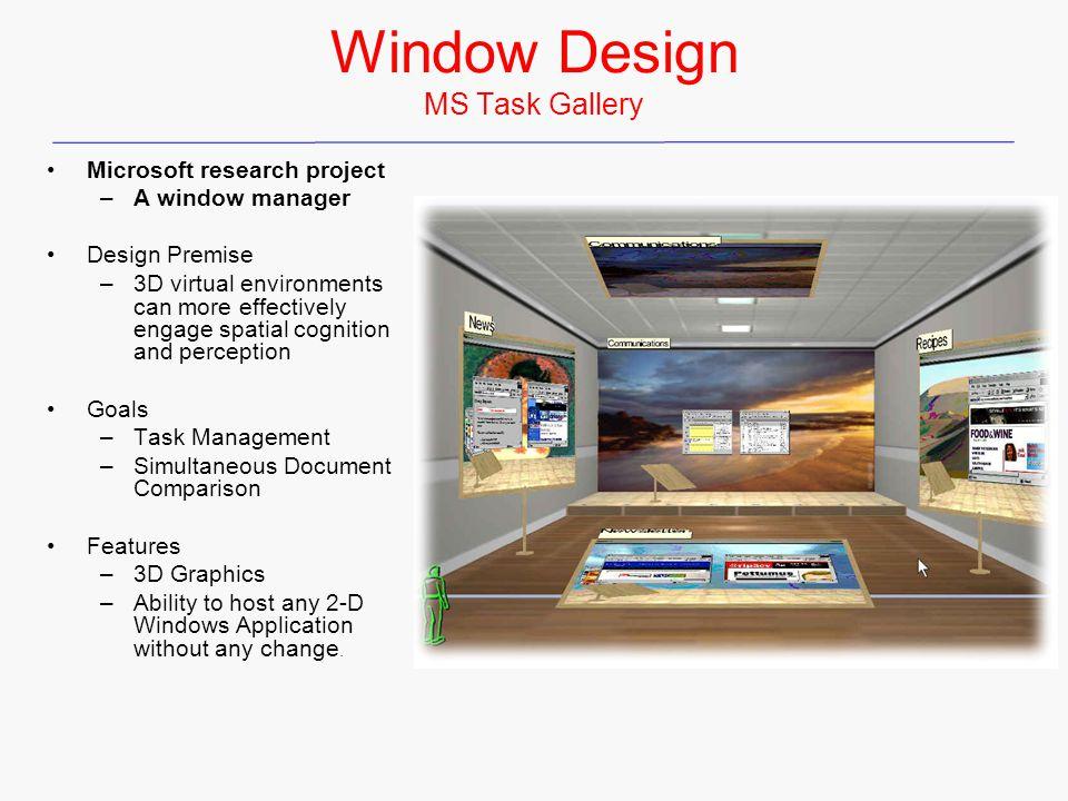 Window Design MS Task Gallery