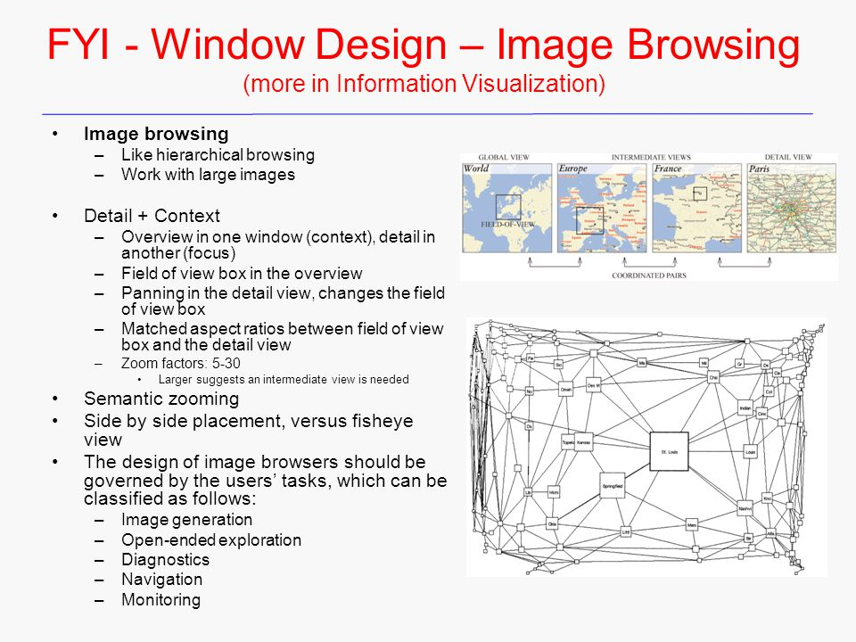 FYI - Window Design – Image Browsing (more in Information Visualization)