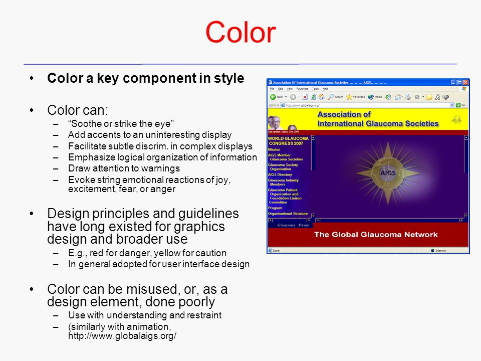Color Color a key component in style Color can: