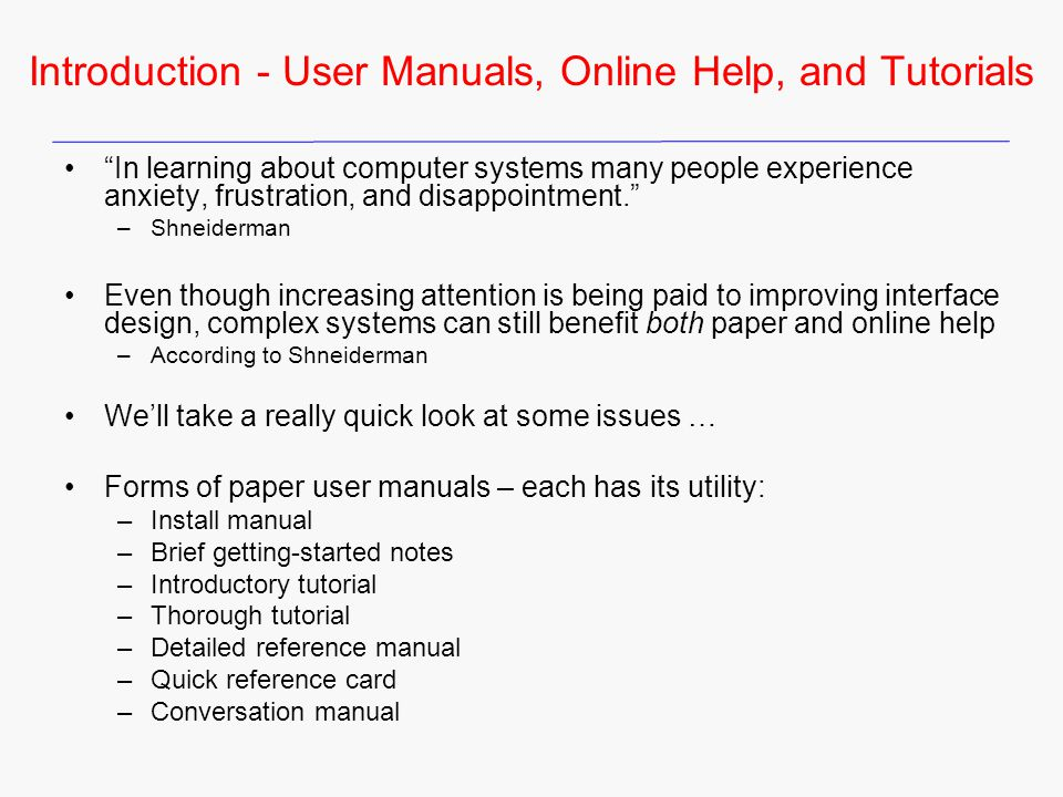 Introduction - User Manuals, Online Help, and Tutorials