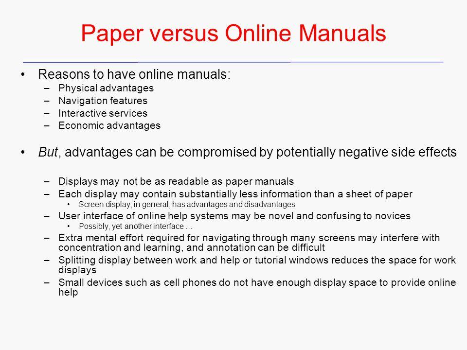 Paper versus Online Manuals