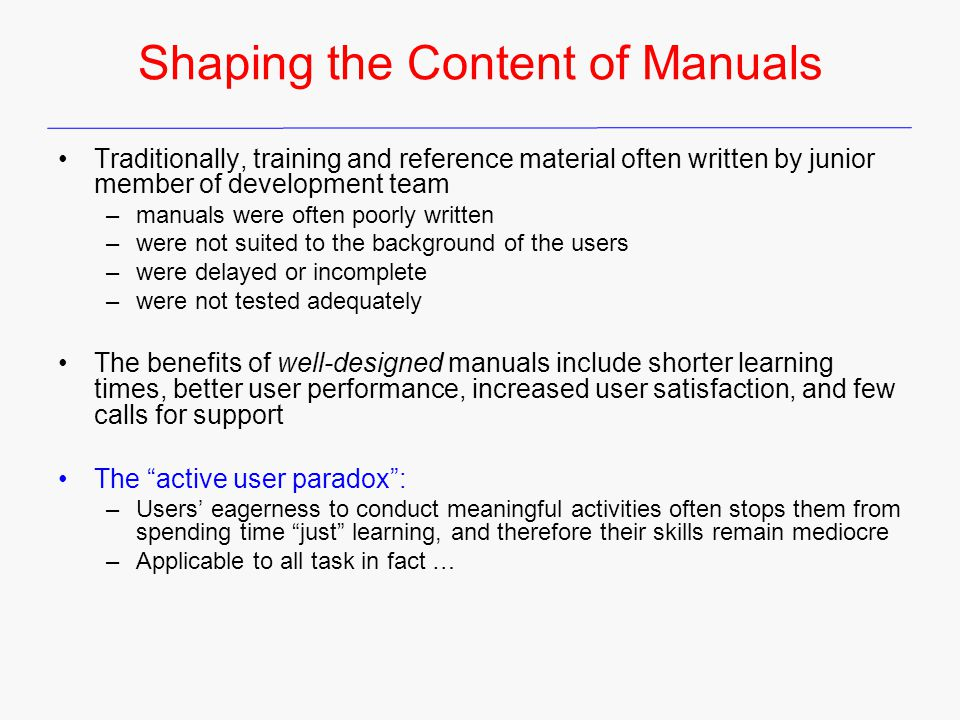 Shaping the Content of Manuals