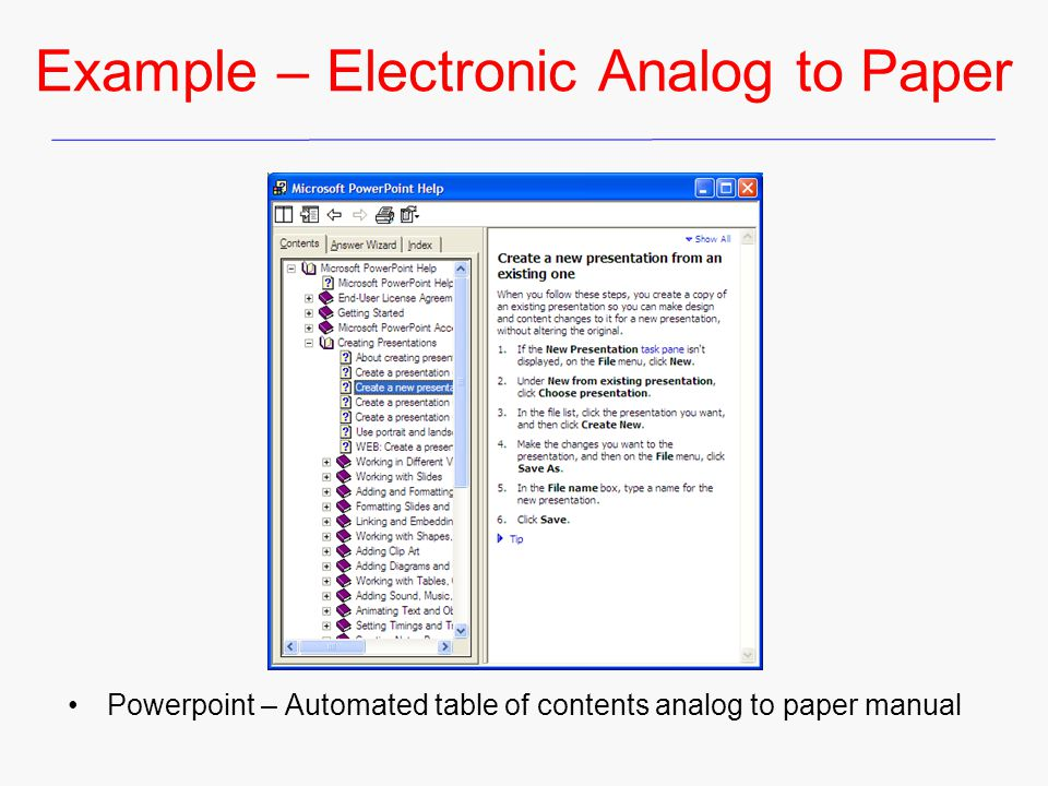 Example – Electronic Analog to Paper