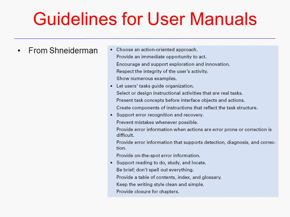 Guidelines for User Manuals