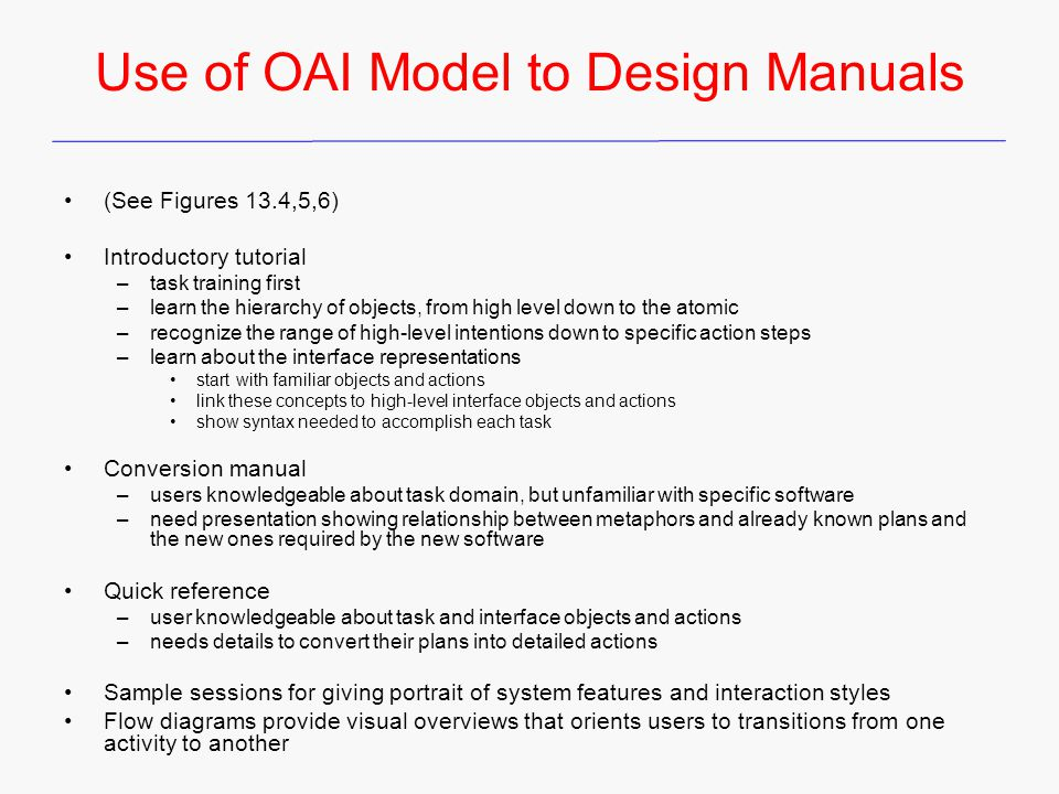 Use of OAI Model to Design Manuals