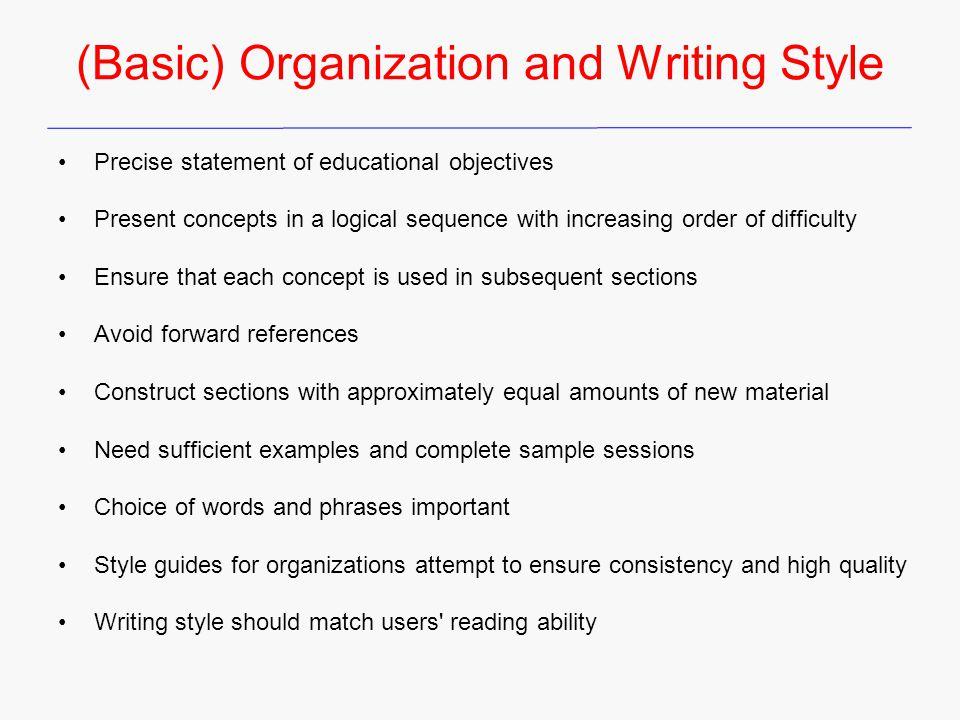 (Basic) Organization and Writing Style