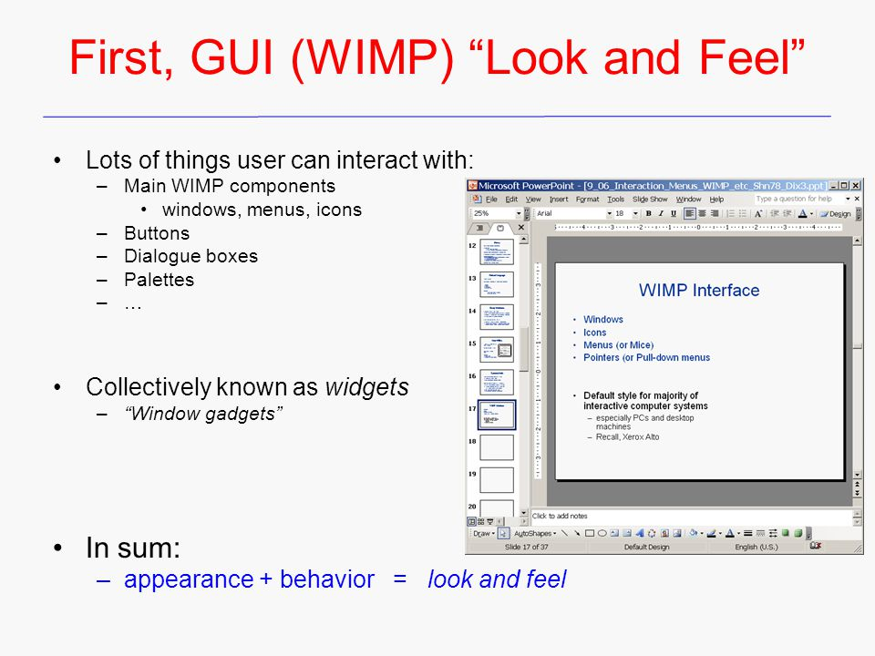 First, GUI (WIMP) Look and Feel
