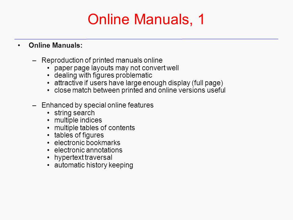 Online Manuals, 1 Online Manuals: