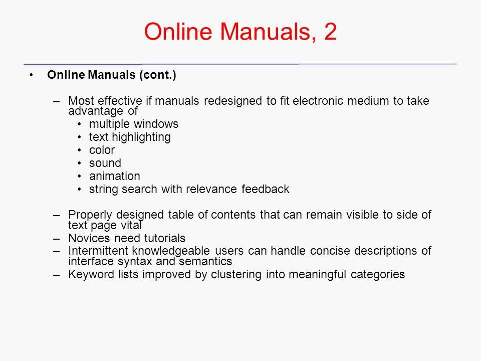 Online Manuals, 2 Online Manuals (cont.)